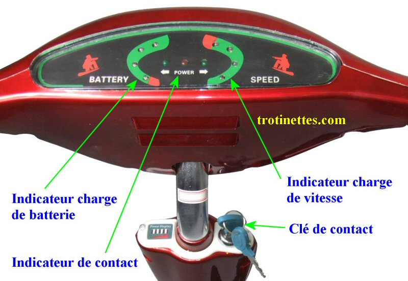 Table de bord et cl� de contact pour trottinette adulte 3 roues ANDY